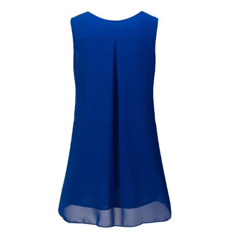 Summer Blouse 2018 Women's Sleevless Sleeve Casual O-Neck Loose Shirt Beach Tops Plus Size Chiffon Blouse 1