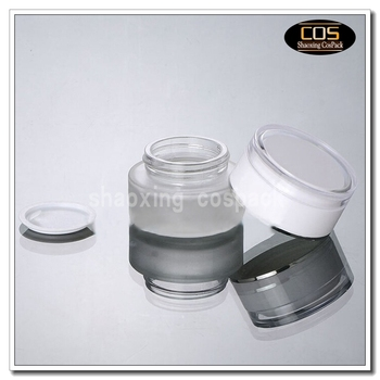30g clear frosted glass cream jar with white acrylic lid, 30 gram cosmetic jar,packing for sample/eye cream,30g bottle