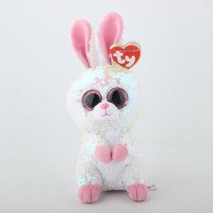 Image 3 - Ty плюшевый игрушка в виде животного с блестками, мягкая плюшевая игрушка, кота, совы, лисы и зайца Единорог Фламинго овец Дракон Собака игрушечные Пингвины 15 см
