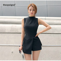 2018 Plus Size Solid Playsuit Women Summer Black Sleeveless Straight Casual Office Shorts Playsuits Vintage Elegant Playsuits