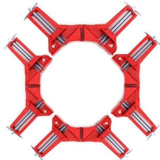 4 piezas 75mm Mitre Corner abrazadera marco titular de la madera de ángulo recto rojo