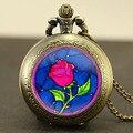Beauty and the beast rose colar relógio steampunk 1 pçs/lote beauty and the beast rose relógio de bolso pingente de quartzo jóia cadeia