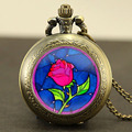 Steampunk beauty and the beast rose Watch Necklace 1pcs/lot beauty and the beast rose pocket watch Pendant Quartz jewelry chain