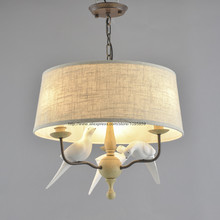 White Birds Modern Chandelier Light Dining Room Ceiling Fixtures Lighting Pendant Lamp Fabric Shade D19.6""