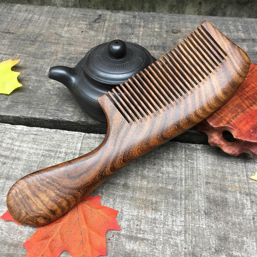 Unisex Sandalwood Comb Women Men Home Travel Wood Anti-static Fine-tooth Comb Wooden Handles