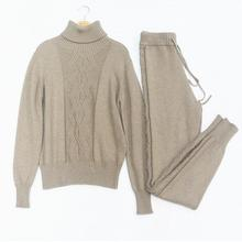 Winter Woolen and Cashmere Pattern Knitted warm Suit high Collar Sweater + Mink Cashmere Trousers Leisure Two-piece wj1273