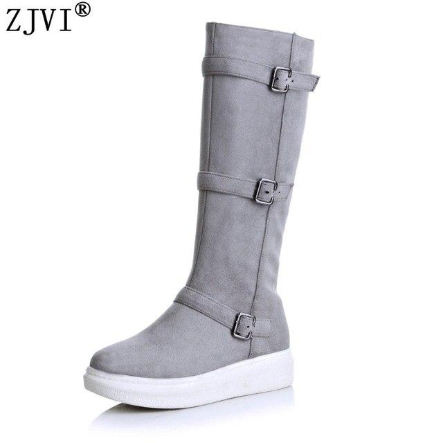 ZJVI women nubuck knee high boots woman thigh high boots women platform shoes women's flats ladies autumn winter boots