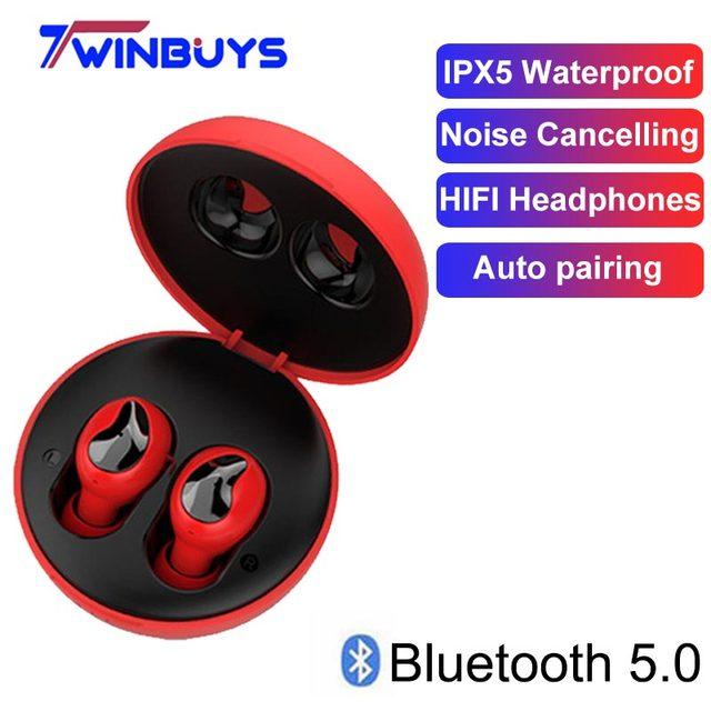 TWS Wireless Bluetooth 5.0 Earphones HIFI headsets Noise Cancelling Waterproof earburd For iPhone 6 7 8 PLUS X xiaomi samsung s8