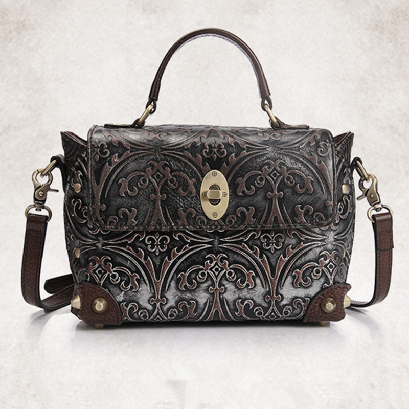 New Retro National Cowhide Women bag Handbags Unique Design Fashion Small Shoulder Bag Genuine Leather Female Messenger Bags bag female new genuine leather handbags first layer of leather shoulder bag korean zipper small square bag mobile messenger bags
