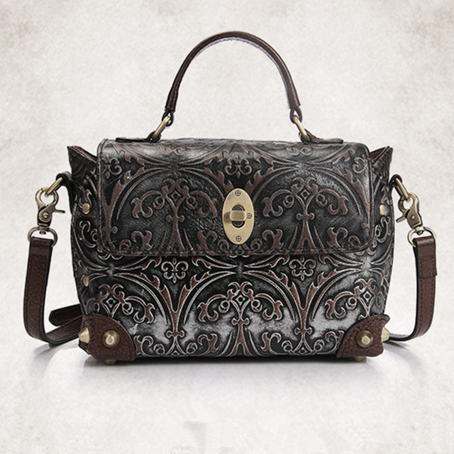 a15a114f20 New Retro National Cowhide Women bag Handbags Unique Design Fashion Small Shoulder  Bag Genuine Leather Female Messenger Bags