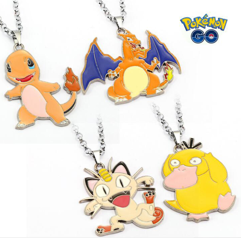 ORP Anime game theme products Pokemon Go nceklace Spit fire dragon small fire dragon meow cat reach duck necklace wholesale