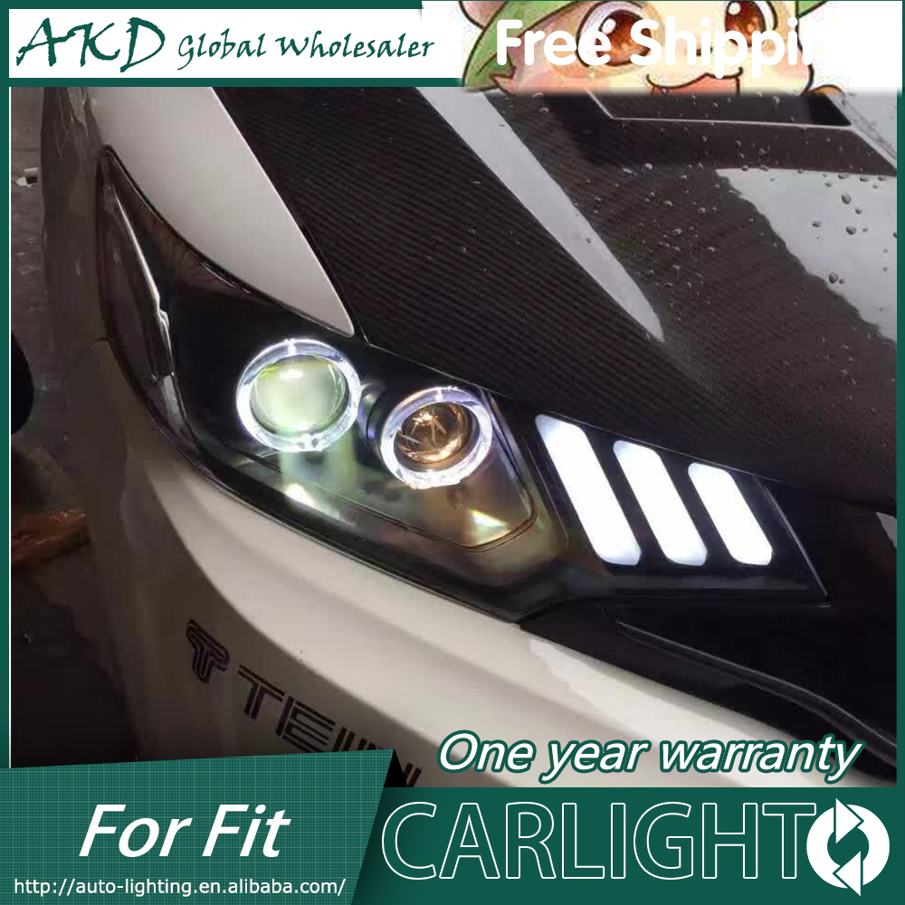 AKD- Car styling LED HID Rio LED headlights Head Lamp case for Honda Fit 2014 Bi-Xenon Lens low beam
