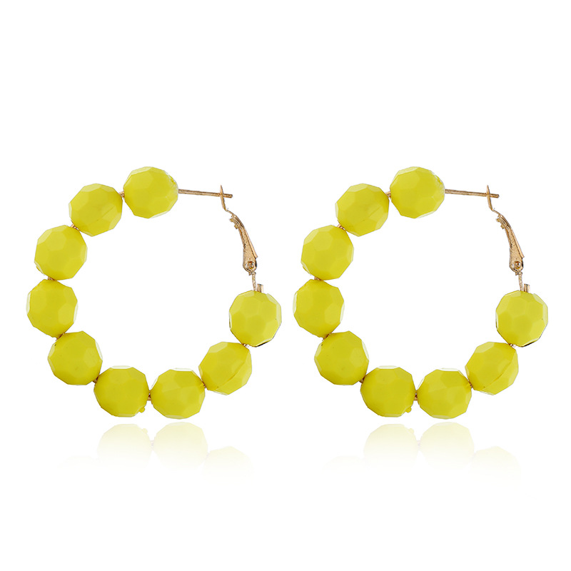 HTB185vrbEGF3KVjSZFoq6zmpFXa1 - 2019 Earrings Women Summer Color Geometric Round Hoop Earring New Red Yellow Candy Color Metal Round Earring For Women Jewelry