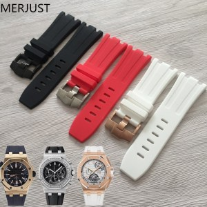 MERJUST Watch Accessories 28mm Natural Silicone Strap AP 15703 Royal Oak Waterproof and Sweatproof Men's Outdoor Sports Strap