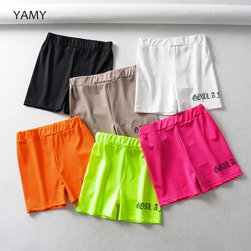 New Trend Fushia Neon Orange Womens Reflective Shorts High Waist Skinny Sexy Biker Shorts Top Quality Slogan Gothic Shorts 2019