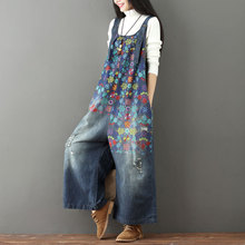 Autumn Women Vintage Printed Holes Ripped Denim Wid Leg Jumpsuit Ladies Spaghetti straps Bleached Overalls Female Jeans Rompers ripped bleached denim pants