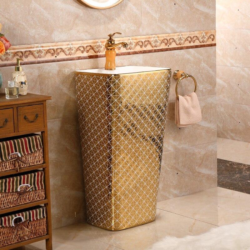 Us 1699 0 Wasche Pool Balkon Bad Korper Waschbecken Wc Badezimmer Waschbecken Podest Freistehende Eitelkeit Waschbecken Waschen Gold Muster In Bad