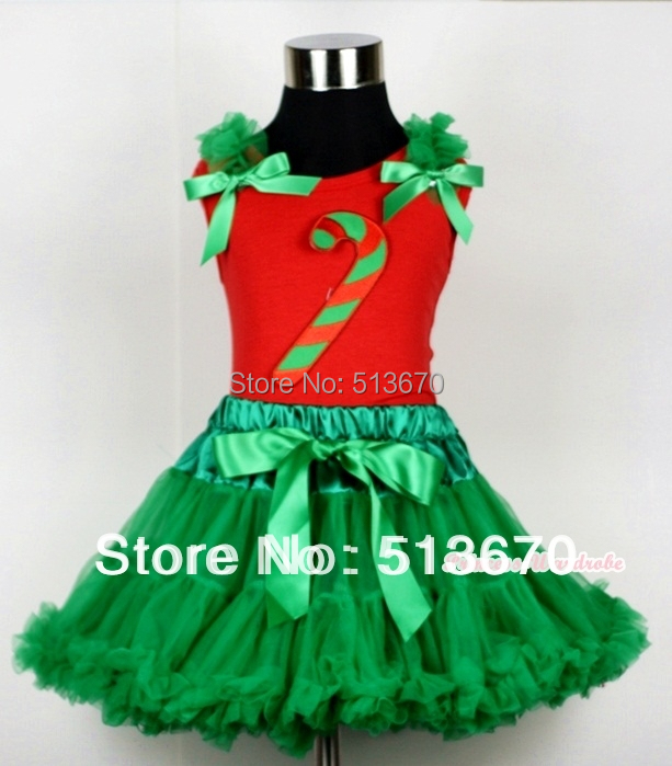 Kelly Green Pettiskirt & Christmas Stick Print Red Tank Top with Kelly Green Ruffles and Bow MACM107 kiniki kelly tanga mens