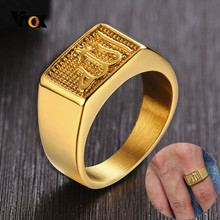 Vnox Allah Square Top Ring for Men Gold Tone Stainless Steel Signet Rings Stylish Casual Letter Stamp Anel(China)