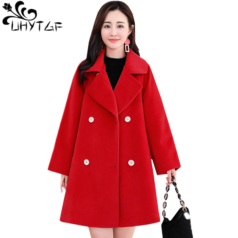 UHYTGF New Oversized Womens Autumn Winter jacket Belt Double-breasted luxury Wool coat cloak type Loose elegant woolen coat 1083