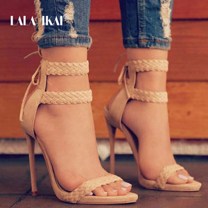 Image 1 - ララ ikai 女性アンクルストラップサンダルファッション高ハイヒールサンダル夏ウィービング薄ハイヒールの女性は靴女性 014B0174  4