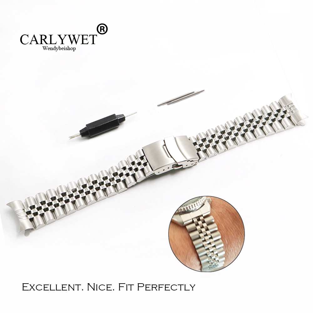 CARLYWET 22mm Hollow Curved End Solid Screw Links Stainless Steel Silver Watch Band VINTAGE Jubilee Bracelet Double Push Clasp