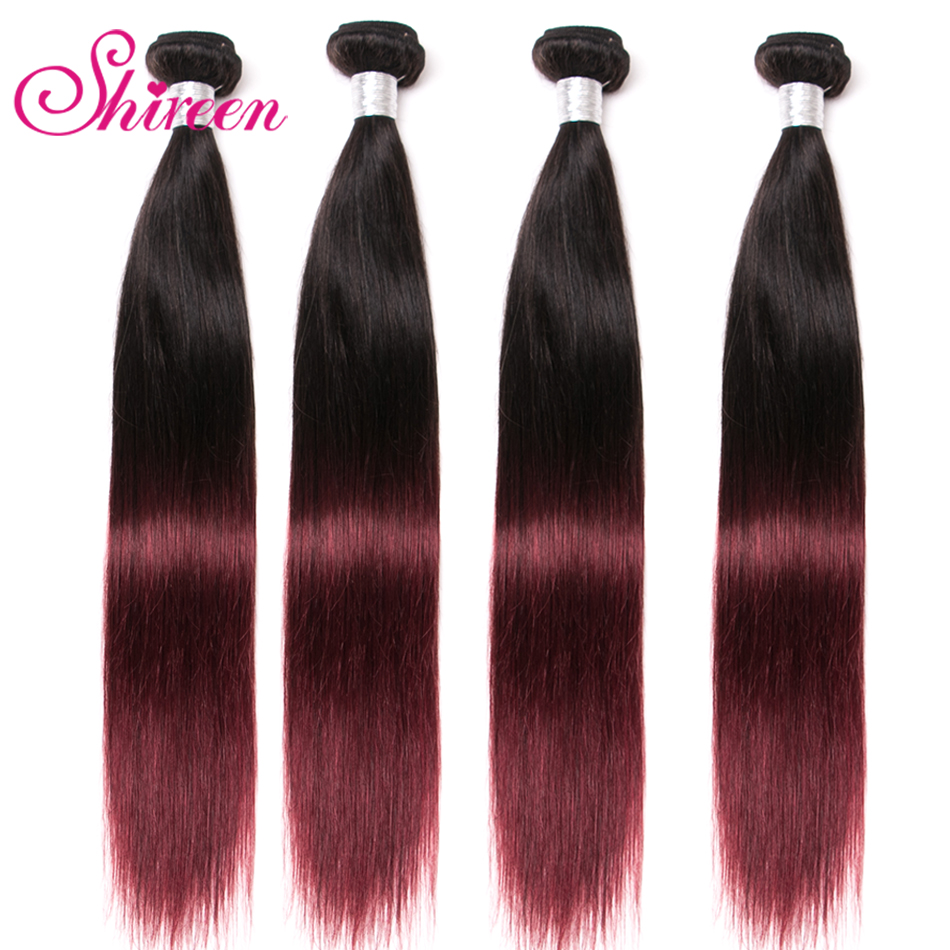 4Bundles Burgundy Malaysian Straight Hair Bundles Ombre Human Hair Extensions 1b 99J Malaysian Non Remy Hair Weave Shireen Hair