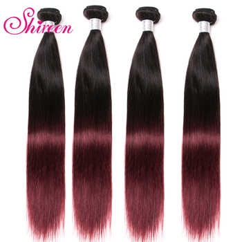 4Bundles Burgundy Malaysian Straight Hair Bundles Ombre Human Hair Extensions 1b 99J Malaysian Non Remy Hair Weave Shireen hair - DISCOUNT ITEM  45% OFF All Category