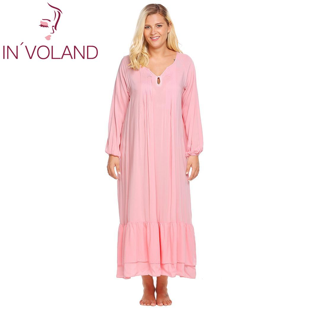 IN'VOLAND Women Sleepwear Dress Plus Size L-4XL Spring Autumn Lantern Sleeve Solid Casual Lounge Long Gown Nightgown Oversized 1