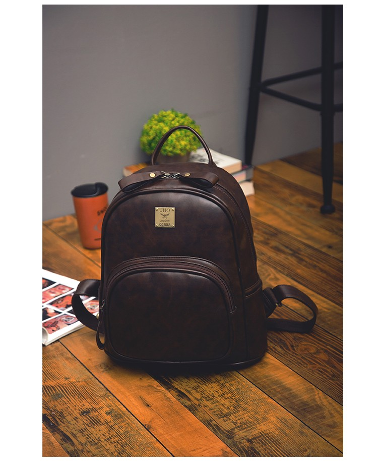 2016 Fashion Vintage Black PU Leather Backpacks For Women Preppy Bookbag New Cheap Designer Backpack Brand Couro Mochilas Mujer (22)