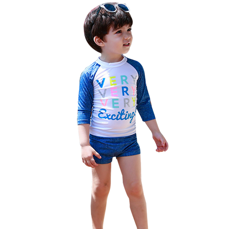 New Children Swimsuit Long Sleeve Top + Shorts Two Piece Boy Girl Unisex Swimsuit 2019 Kids Beach Bathing Suit Baby Swimming(China)