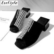 купить ESRFIYFE 2019 New Big Size 34-48 Summer Women Slippers Square High Heels Open Toe Shoes Woman Top Quality Casual Women Mules по цене 1751.54 рублей