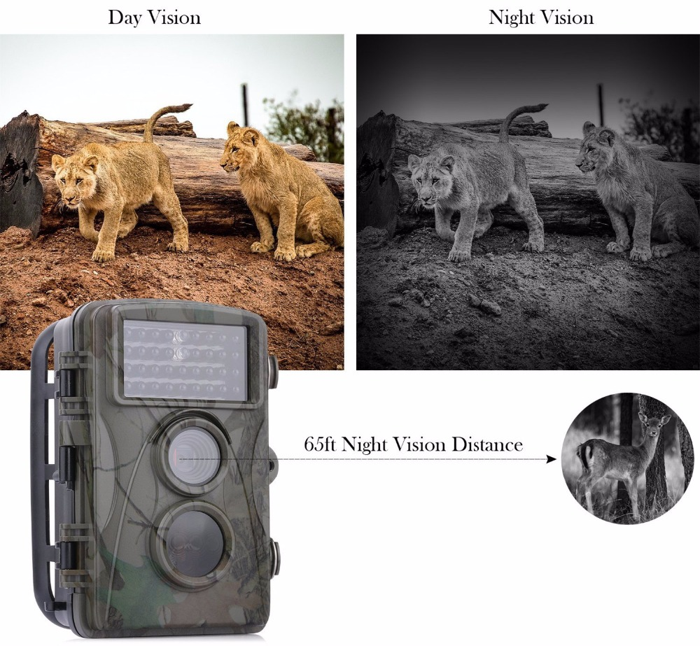 12MP 720P Hunting Camera H3 IP54 Waterproof Wild Trail Camera Infrared Night Vision Animal Observation Recorder