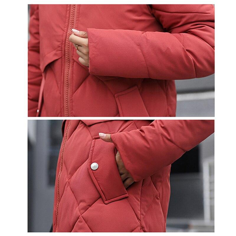 Coréenne Grand orange Long De Sur Version Col Vers gris Genou Veste marine Manteau Coton Fourrure noir jacinth Avec Bas Outwear 2018 Le rouge Green army Poche Bleu Dames Nouvelle Épais Grande Beige E5nPqTwxqp