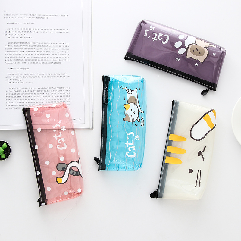 Creative Meow Cats Pencil Case Stationery Storage Organizer Bag School Office Supply