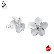 цены SA SILVERAGE Earring Fashion Jewelry For Women Flower Earring Female 925 Sterling Silver Stud Earrings Trendy AAA Zirconia