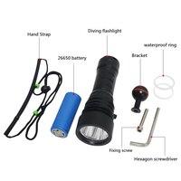 120m Scuba Video lamp Professional Diving flashlight underwater work light lanterna waterproof torch 26650 underwater fill light