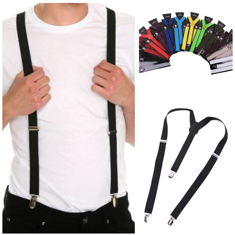 Men Women Suspenders Unisex Solid Color Jeans Pants Trouser with Clip-on Braces Elastic Suspenders Black Clothing Accessories