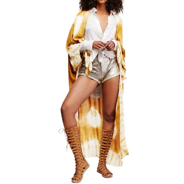 ecd27a50e865d 2019 New Women Chiffon Kimono Cardigan Beach Cover Up Contrast Print Long  Loose Casual Long Blouse Top White/Blue/Yellow Outwear