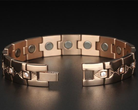 Crystal Gem Woman Bracelet Titanium  Health Energy Magnetic Gold Fashion Jewelry Lady Bracelets Gift for Girls