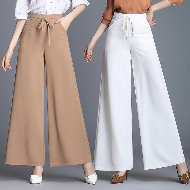 woman spring summer thin section   wide     leg     pants   female trousers high waist loose casual   pants   Elastic Waist straight trousers