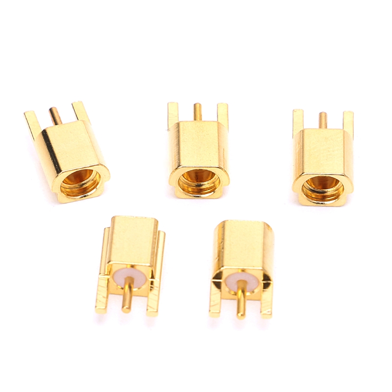 5Pcs  MMCX Female Jack Connector PCB Mount With Solder Straight Goldplated 3 Pins MMCXKE Connector