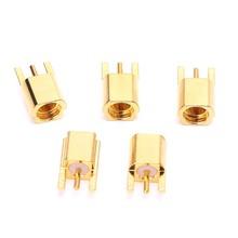 Montagem fêmea do pwb do conector de jack de 5 pces mmcx com o conector reto goldplated de 3 pinos mmcxke da solda