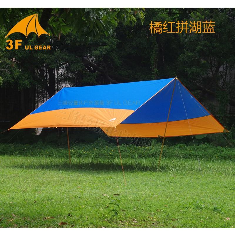 3F UL Gear 5x4.5M Versatile Silver Coating Waterproof Sunscreen 210T Taffeta Tarp with Poles Beach Canopy Hook-strengthen Tent