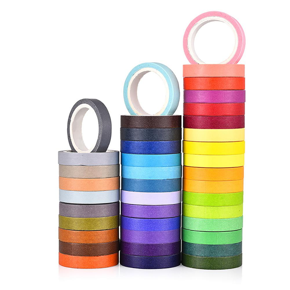 40 Colors Bright Washi Tape DIY Decoration Diary Vivid Color Tape R20
