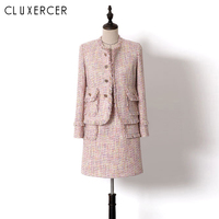 High Quaulity Runway Designer Outfits For Women Office Pink Tweed Tassel Jacket And bodycon Dress Two Piece Set Outfits