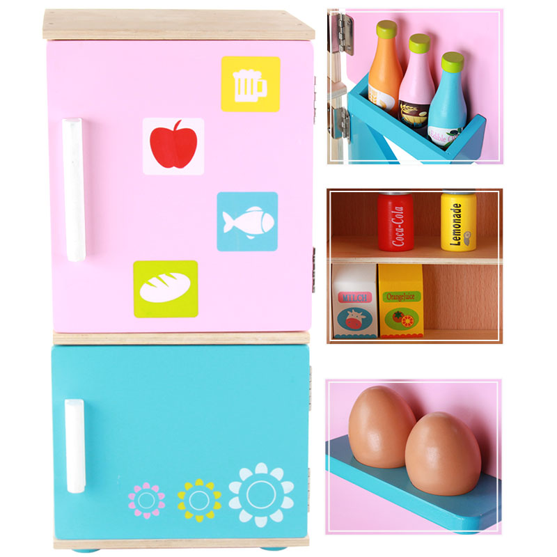 New Arrival Baby Toys Simulation Refrigerator Wooden Toys Food Cut Game Kitchen Toys Set Child Education Birthday/Christams Gift baby toys child furniture set simulation kitchen toy educational plastic toy food set assemble play house baby birthday gift
