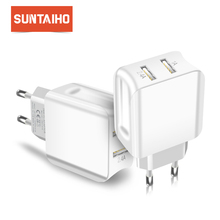 Suntaiho Travel Wall Charger Universal Dual Usb poort Lader Voor Iphone/Samsung/Xiaomi/Ipad Adapter Smart Mobiele telefoon Oplader