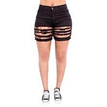 2017 summer fashion black white sexy club ladies girls women cotton denim vintage hole washed mid waist jeans shorts