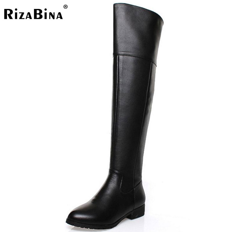 RizaBina Free shipping over knee long boots natural real genuine leather boots women boot high heel shoes R5017 EUR size 34-42 free shipping candy color women garden shoes breathable women beach shoes hsa21